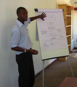 consultant using flip chart
